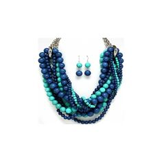 Aniah's Twisted Multistrand Blue Beaded Necklace Set ($49) ❤ liked on Polyvore