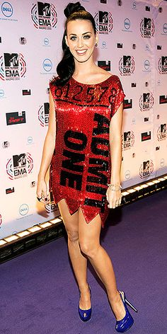 katy perry, red admit one dress