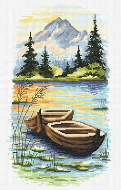 Online pattern for cross stich – Dusk on the lake - Dusk on the lake digital cross stitch pattern -, Mountain landscape with a lake digital PDF Cute Cross Stitch, Cross Stitch Charts, Cross Stitch Designs, Cross Stitch Patterns, Crewel Embroidery, Cross Stitch Embroidery, Embroidery Patterns, Cross Stitch Landscape, Seed Stitch