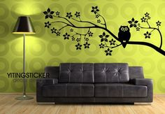 cherry tree with owl decor wall sticker art deco tree viny-in Wall Stickers from Home & Garden on Aliexpress.com