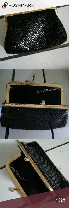 """Vintage Whiting and Davis Coin Clutch Purse Vintage Black beaded Whiting and Davis- International (late 40s to early 50s) coin clutch purse with gold clasp. Made in Hong Kong. Approx 3"""" side to side and 2"""" top to bottom. Super cute and in great condition! Whiting & Davis Bags Mini Bags"""