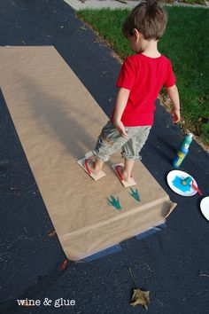 Make Dino track with these cool DIY Dinosaur flip flop stamps.