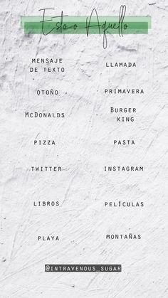 Esto o Aquello Study Spanish, Funny Questions, Word Games, Instagram Story Template, Teaching Spanish, Instagram Tips, Insta Story, Vocabulary, Lifestyle Blog
