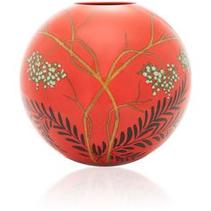 CABANA Large Round Vase (2.145 DKK) ❤ liked on Polyvore featuring home, home decor, vases, red, red vase, floral vases, round vase, red home accessories and floral home decor