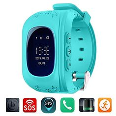 TURNMEON Smart Watch for Kids Children Smartwatch Phone with SIM Calls GPS Tracker Anti-lost SOS Voice Chat Gprs Bracelet for Android Apple IPhone IOS Smartphone(Blue)