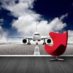 Fotobehang Vliegtuig   Maak het jezelf eenvoudig en bestel fotobehang voorzien van een lijmlaag bij YouPri om zo gemakkelijk jouw woonruimte een nieuwe stijl te geven. Voor het behangen heb je alleen water nodig!   #behang #fotobehang #print #opdruk #afbeelding #diy #behangen #vliegtuig #vliegen #landingsbaan #lucht