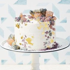 Lemon-Poppy Cake With Vanilla Bean Icing And Rock Candy