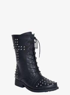 Studded Cross Combat Boots (Wide Width) | Torrid