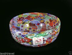 NEW MURANO MILLEFIORI BOWL ITALIAN ART GLASS MADE IN VENICE ITALY W STICKER