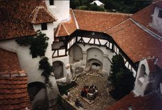 "The Bran Castle (""Dracula's Castle"") in Transylvania, looking down into the courtyard."