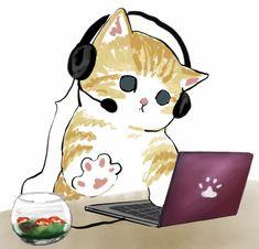 Baby Animal Drawings, Animal Sketches, Cute Cat Drawing, Cute Drawings, Cute Little Kittens, Cute Cats, Arte Indie, Cat Posters, Watercolor Cat