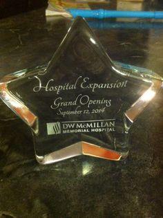 Glass Star Award for D.W. McMillan Memorial Hospital ER Grand Opening.