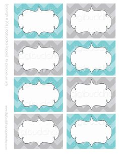 Ava Modern Chevron Candy Buffet Food  Mailing Labels Cards. Printable. Stickers, Table and Favor Tags. Tiffany Blue & Gray.. $6.00, via Etsy.