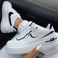 Nike Air Force 1 Black X White/Hand Painted by nn2 Dr Shoes, Cute Nike Shoes, Swag Shoes, Hype Shoes, Cute Nike Outfits, Nike Shoes For Women, Black Nike Shoes, Black And White Shoes, Nike Shoes Outfits