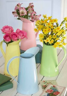 #ParkerKnoll metal pastel jug by the contemporary home | notonthehighstreet.com These look so beautiful with flowers in, and would really brighten up the room :) #SpringByYou