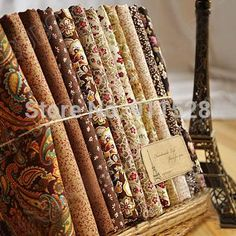 12 Designs Brown Color Vintage Cotton Quilting Poplin Fabric The Patchwork Cloth 'Royal Court' Sold per Bundle and Meter Yardage
