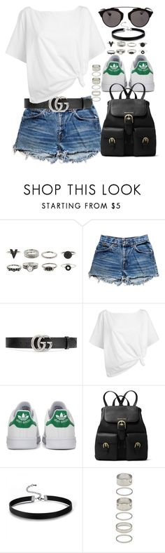 """Untitled #98"" by amanda-thoresson ❤ liked on Polyvore featuring Levi's, Gucci, Red Herring, adidas Originals, MICHAEL Michael Kors, Forever 21 and Christian Dior"