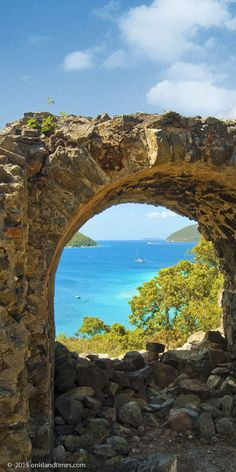 View of Waterlemon Cay from the Old Danish Guardhouse Ruins, St John, USVI.