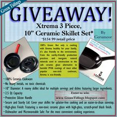"""Win our best-selling Xtrema 100% All Ceramic 3 Piece 10"""" Skillet Set.  Giveaway is hosted by Green Tidings."""