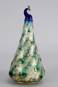 Eugene Feuillatre, French, 1879-1916. Peacock Flask, ca. 1900. Enameled copper.