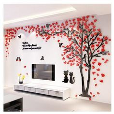 Creative Couple Tree Sticker Acrylic Stereo Wall Stickers Home Decor Tv Backdrop Living Room Bedroom Sofa Wall Decorative Art Wall Stickers Tv, 3d Sticker, Wall Stickers Home Decor, Tv Decor, Wall Art Decor, Wall Art Designs, Wall Design, Bird Design, Design Art