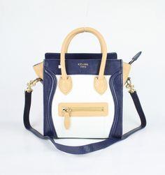 ed22b25942 Celine Mini Luggage Bag Tote Blue Beige  Celine-156  - €235 Celine