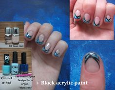 Drag marble french manicure - blue summer/spring nails