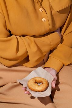 art direction | food + fashion editorial donut still life - monochromatic mustard yellow