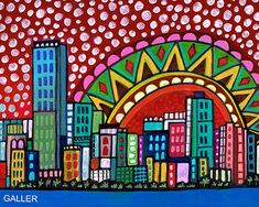 50% Off - Miami skyline art city Print Poster by Heather Galler Florida Cityscape City Skyline Mexcian Folk Art (HG672)