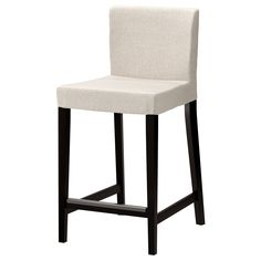 Henriksdal Bar Stool With Backrest, Brown-black, Gobo White