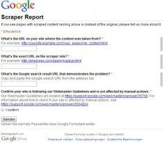 Scraper Sites: Den Content-Dieben geht es mit Googles neuer Scraper Report form an den Kragen - Mehr Infos zum Thema auch unter http://vslink.de/internetmarketing
