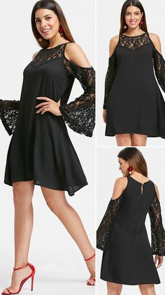 Cut Out Shoulder Lace Sleeve Straight Dress Holiday Fashion, Fashion Fashion, Fashion Looks, Cute Dress Outfits, Casual Dresses, Pretty Dresses, Beautiful Dresses, Beauty Buy, Simple Black Dress