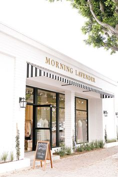 Morning Lavender is a chic cafe in Tustin, CA with delicious coffee & tea drinks, and a modern twist on Afternoon Tea! Boutique Interior, Cafe Interior, Boutique Store Front, Boutique Stores, Coffee Shop Design, Shop Fronts, Facade Design, At Home Store, Commercial Design