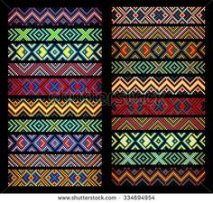 trendy contemporary ethnic seamless ribbons and braid border pattern embroidery cross squares diamonds stripe. Bead Loom Bracelets, Hand Embroidery Designs, Embroidery Patterns, Cross Stitch Patterns, Bracelet Patterns, Beading Patterns, Tribal Pattern Art, Ribbon Braids, Seed Beads