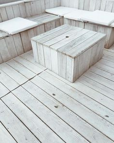 + #whitewashed #wooden_deck #benches #table