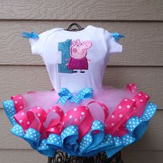 1st Birthday Peppa Pig tutu, Peppa Pig dress, Baby tutu, Toddler tutu, Birthday dress, Birthday tutu, Smash Cake outfit by Grannyssassyboutique on Etsy