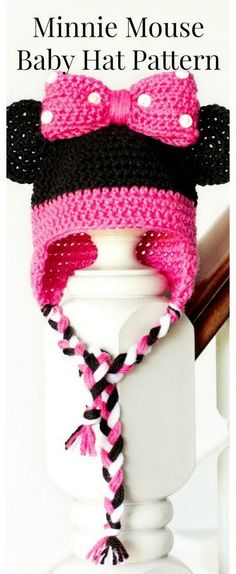 Minnie Mouse Inspired Baby Hat Crochet Pattern.
