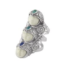 Offerings Sajen 925 Sterling Silver Triple Goddess Apatite & Topaz Ring  #Sajen #Goddess