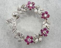 1940s Retro Era Ruby and Diamond Wreath Pendant Or Brooch by MSJewelers