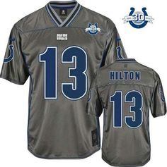 """$23.88 at """"MaryJersey""""(maryjerseyelway@gmail.com) Nike Colts #13 T.Y. Hilton Grey With 30TH Seasons Patch Men's Stitched NFL Elite Vapor Jersey"""