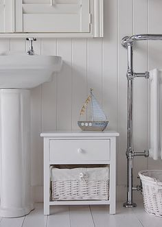 New Haven Freestanding Bathroom Cabinet With One Basket Drawer And One Wooden Drawer