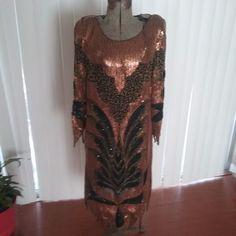Vintage Tan-Chho Copper  Silk Bead & Sequin Dress *Women's Sz L. Beautiful  #TanChho #Party