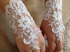 Laced Bridal Gloves with Pearls by ShabbyChicAndVintage on Etsy, $22.00