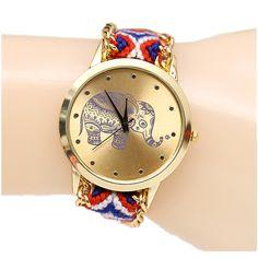 2016 New Handmade Braided Watch Fashion Ethnic Style Elephant Pattern Wristwatch Ladie Quartz Gold Women Dress Watch clock hours | Price: US $2.79 | http://www.bestali.com/goto/32333976583/10