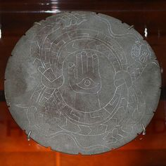 The Rattlesnake Disk. stone, from Moundville, Alabama, constructed by the Mississipian people ca. 1100-1450. Once the largest settlement north of Mexico City.  (another image, thanks to Tom Butler)