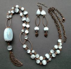 длинное ожерелье с кулоном и серьги. Агат, кошачий глаз, медь.