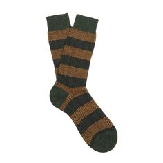 Pantherella Solsbury striped wool-blend socks (€13) ❤ liked on Polyvore featuring men's fashion, men's clothing, men's socks, green multi, mens seamless socks, mens green socks and mens striped socks