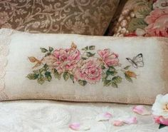 Roses-Butterfly-Pillow-Counted-Cross-Stitch-Pattern-From-A-Magazine