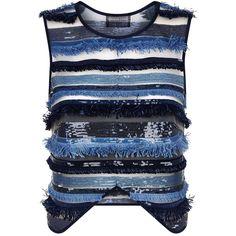 Deborah Lyons Saffron Fringe Embellished Top ($400) ❤ liked on Polyvore featuring tops, sheer top, embellished top, blue sequin top, sheer crop top and sheer embellished top