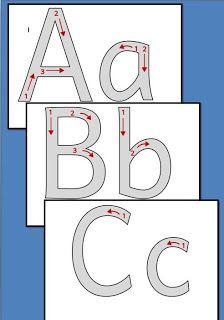 Kruschkiste: Buchstaben mit Richtungspfeilen